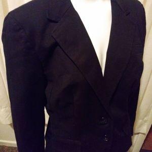 WORTHINGTON Blk lined blazer sz 10, fr pkts/plea